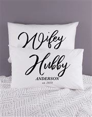 Personalised Hubby and Wifey Pillowcase Set