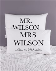 Personalised Mr and Mrs Pillowcase Set