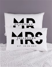 Personalised Block Mr and Mrs Pillowcase Set
