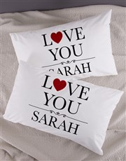 Personalised Love You Pillowcase Set
