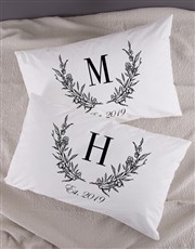 Personalised Wreath Initial Pillowcase Set