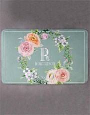 Personalised Floral Intial and Surname Bath Mat