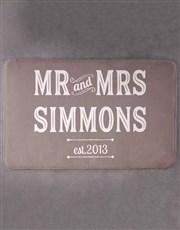 Personalised Retro Mr and Mrs Bath Mat