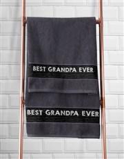 Personalised Best Grandad Grey Towel Set
