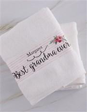 Personalised Best Grandma White Towel Set
