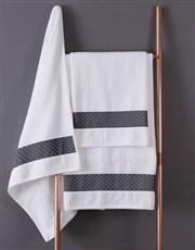 Personalised Polka Dot White Towel Set