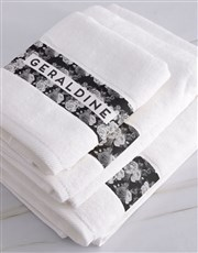 Personalised Black Rose White Towel Set