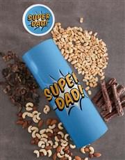 Personalised Super Dad Biltong And Nuts Tube
