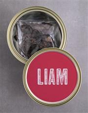 Personalised Bull Biltong Tin With Chocs