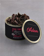 Personalised Good Things Biltong Tin With Chocs