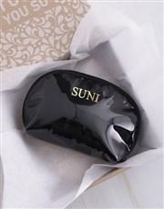 Personalised Embossed PU Black Cosmetic Bag