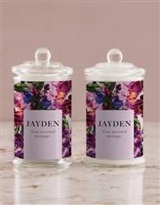 Personalised Purple Peony Candle Jar
