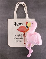 Personalised Fluffy Flamingo Tote Bag