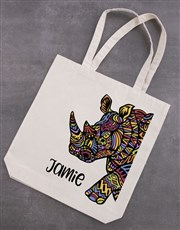 Personalised Rhino Tote Bag