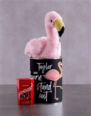 Personalised Fluffy Flamingo Tin