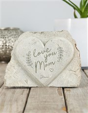Personalised Love You Mom Stone Heart