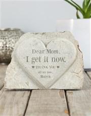 Personalised Dear Mom Stone Heart