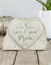 Personalised Love & Your Mom Stone Heart