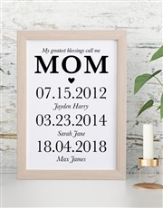 Personalised Mom Dates Framed Wall Art