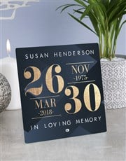 Personalised Sympathy  Dates Glass Tile
