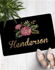 Personalised Floral Family Name Doormat