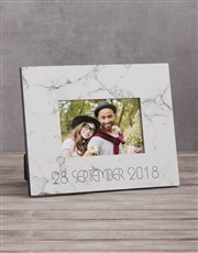Personalised Marble Date Photo Frame