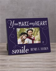 Personalised You Make My Heart Photo Frame