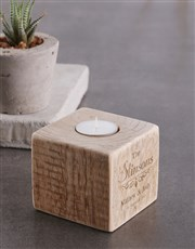 Personalised Couples Surname Square Candle Holder