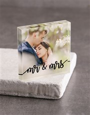 Personalised Mr And Mrs Acrylic Block