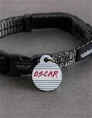 Personalised Stripe ID Tag and S Collar