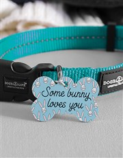Personalised Bunny Loves Bone ID Tag and Collar