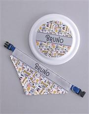 Personalised Dog Print Frisbee and Bandanna