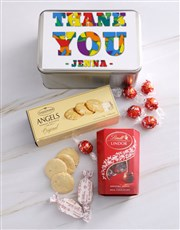 Personalised Thank You In Colour Snack Tin