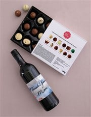 Personalised Thank You Mom Choc and Wine Combo