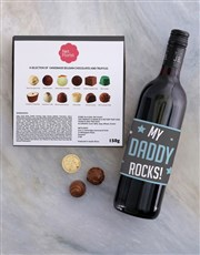 Personalised Dad Rocks Choc and Wine Combo