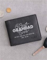 Personalised Grandad Busby Black Bilfold Wallet