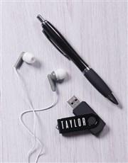 Personalised Black Tech Set