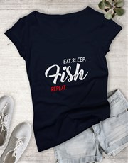 Personalised Eat Sleep Repeat Ladies T Shirt
