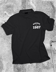 Personalised Name and Year Printed Polo Shirt