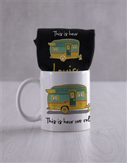 Personalised How We Roll Socks And Mug
