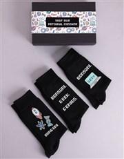 Personalised Three Pair Geek Socks Box