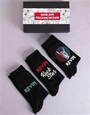 Personalised Three Pair Rock Star Socks Box