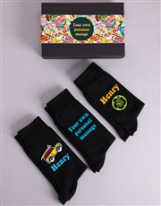 Personalised Three Pair Summer Socks Box