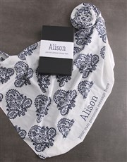 Personalised Blue Paisley Scarf Gift