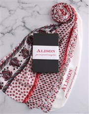 Personalised Red Multi Patterned Scarf Gift