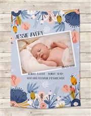 Personalised Floral Birth Fleece Blanket