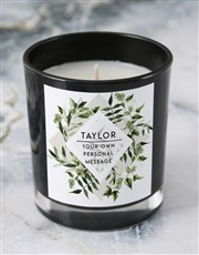 Personalised Foilage Black Candle