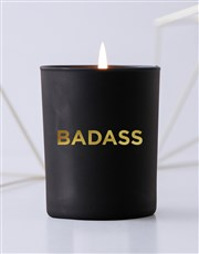 Personalised Foil Message Black Candle