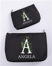 Personalised Floral Initial Cosmetic Bag
