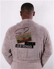 Personalised Old School Taupe Fleece Gown